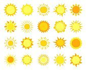Sun icons. Sunshine, hot summer and sunrise symbols, gold sunlight circles, solar and sunny weather signs vector set