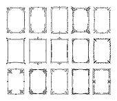 Decorative frames. Vintage hand drawn ornamental borders. Antique elegant book decoration ornament. Flourish filigree frame vector set