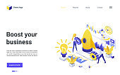 Boost your business isometric landing page, businessman team launching speed rocket