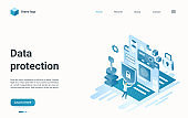 Data protection isometric landing page, internet technology to protect information