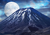 Volcano and moon
