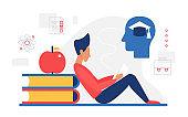 Knowledge education creative concept, graduate man sitting with literature books