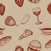 vector seamless background with food and drinks in vintage retro style
