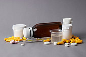 Set of medicines on a colored background close up
