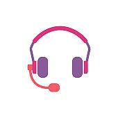 Earphone Headset Icon Design Vector Template Illustration