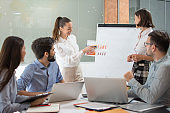 Young businesswoman presenting some results on a paper document to group of people in a meeting room