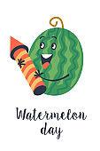 Watermelon Day. Festive fun vector clipart. Template for a postcard, poster, invitation.