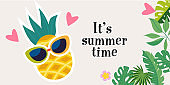 It's summer time. Vector bright colorful illustration. Horizontal banner.