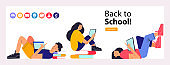 Back to school. Colorful vector illustration, banner. Clipart on the topic of education, school.