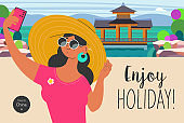 Travel on vacation and take selfies in the background of the sights. Enjoy holiday. Vector illustration.