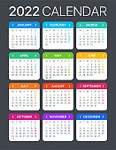 2022 Calendar - vector template graphic illustration - Monday to Sunday