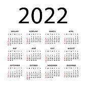 Calendar 2022 - illustration. Week starts on Sunday. Calendar Set for 2022 year