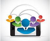People network link phone illustration design