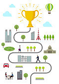 Trophy and everyday scenery Vertical banner illustration ( Metaphor of success and victory )