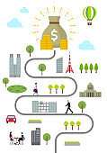 Dollar bag and everyday scenery Vertical banner illustration ( Metaphor of financial success )