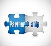 Partnership puzzle pieces concept sign illustration