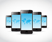 Set of phones and world maps. illustration