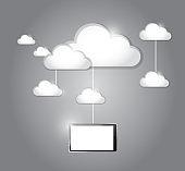 Cloud computing tablet connection illustration