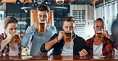 Group of handsome young men in casual clothing enjoying beer