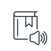 Audio Book Line Icon. Ebook Linear Icon. Online Education and Learning concept. Audio Literature Outline Pictogram. Editable stroke. Vector illustration.