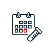 Calendar and Test Tube line icon. Schedule of Take Test, Donate Blood. Annual checkup line icon. Red Day for Check of Treatment. Editable stroke. Vector illustration