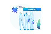 Risk Of Spreading The Virus. Doctors In Protective Suits At The Entrance To The Hospital. Flat 2D Web Design