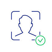 Face Recognition and Identification Line Icon. Face ID Line Icon. Facial Scan and Identification. Facial Recognition System Sign. Biometric Facial Detection pictogram. Vector illustration