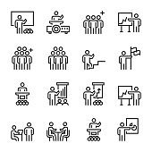 business people management leader training line icons vector