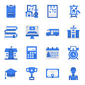 Back to School Icons Blue Color  Vector Illustration ,school bus, distance education, online learning, student,