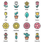 flower icons color vector illustrator