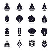 Tree Line Icons Vector Illustration , ecology, nature,