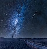 Milky way over wind turbines on field at night