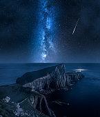 Milky way and Neist point lighthouse, Isle of Skye, Scotland