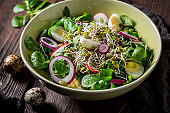 Spring green salad with lettuce, quail eggs and sprouts