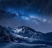 Milky way over Passo Falazarego at night, Dolomites, Italy