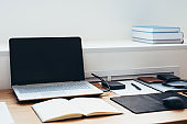 Home workplace, worktable, workspace with no people