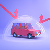 Car insurance. Automobile stand under shield protected from outside dangers