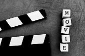 Movie title test letters and film object