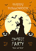 Zombie Party on Orange Halloween Background with Witch
