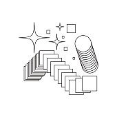 Universal trend textured geometric bright bold shapes set