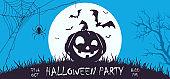 Blue Halloween Banner with Happy Pumpkin