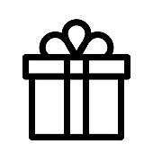 Gift box in line style. Gift box icon or present icon.