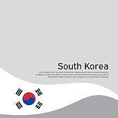 Abstract south korea flag on light background. Cover for business booklet. Vector brochure design. Wavy ribbon with the south korean flag. National poster. State patriotic banner, flyer
