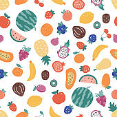 Seamless pattern with doodle fruits on white background.