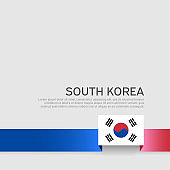 South korea flag on a white background. Vector brochure design. Cover for business booklet. Ribbon with the south korean flag. National poster. State patriotic banner, flyer
