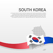 South korea flag and map on white background. Vector brochure design. Cover for business booklet. Wavy ribbon with the south korean flag. National poster. State patriotic banner, flyer