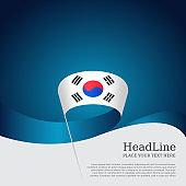 South korea flag on a blue white background. Vector brochure design. Cover for business booklet. Wavy ribbon with the south korean flag. National poster. State patriotic banner, flyer