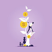 Financial growth concept. Growing money tree vector illustration