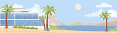 Sea ocean beach with villa hotel with palms and mountains beautiful sunny day seaside wide landscape panorama summer vacation concept flat vector illustration