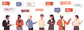 People talk with message bubbles above head, friendly or business work communication set